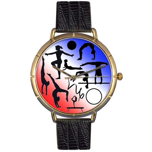 616-979 - Whimsical Watches Women's Gymnastics Quartz Black Leather Strap Watch