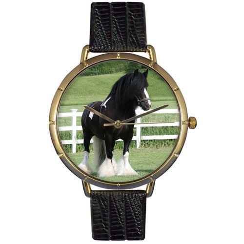 616-983 - Whimsical Watches Women's Gypsy Banner Horse Quartz Black Leather Strap Watch