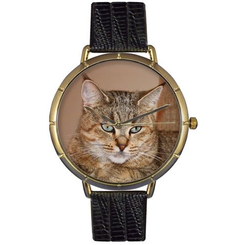 617-008 - Whimsical Watches Women's Pixie Bob Cat Quartz Black Leather Strap Watch