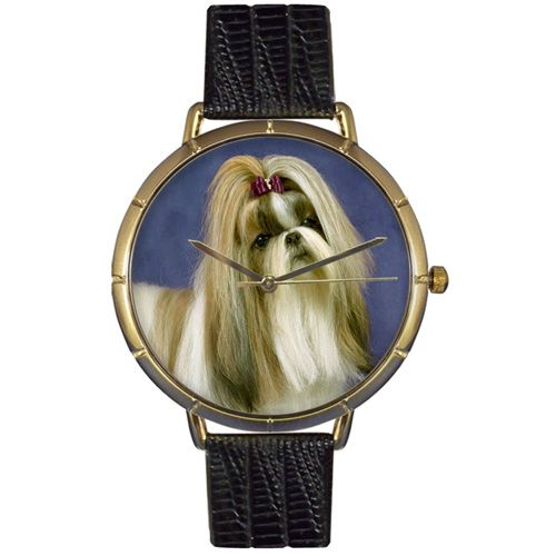617-017 - Whimsical Watches Women's Shih Tzu Quartz Black Leather Strap Watch