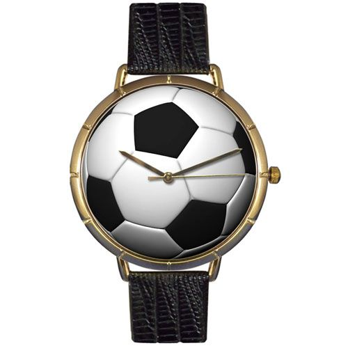 617-019 - Whimsical Watches Women's Soccer Lover Quartz Black Leather Strap Watch
