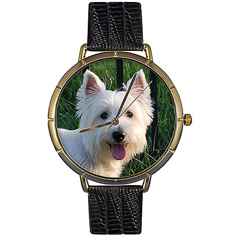 617-025 - Whimsical Watches Women's Westie Quartz Black Leather Strap Watch