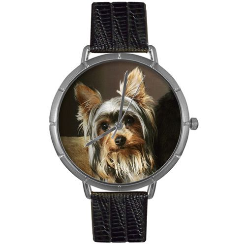 617-026 - Whimsical Watches Women's Yorkie Quartz Black Leather Strap Watch