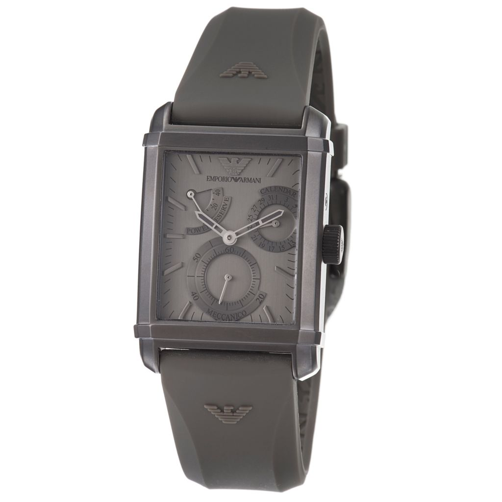 617-027 - Emporio Armani Rectangular Automatic Power Resereve Silicone Strap Watch