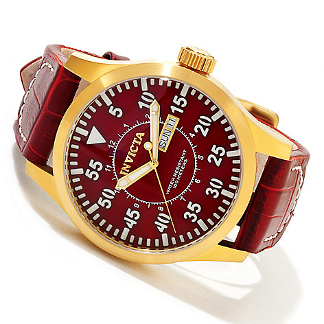 617-040 - Invicta 48mm Specialty Outdoor Quartz Stainless Steel Case Leather Strap Watch