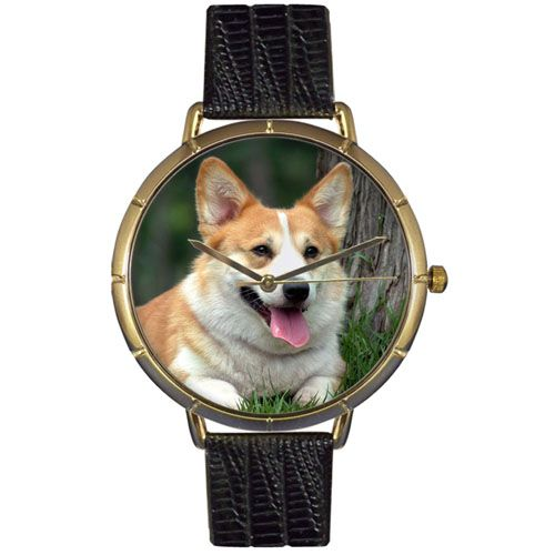 617-043 - Whimsical Watches Women's Japanese Quartz Corgi Black Leather Strap Watch