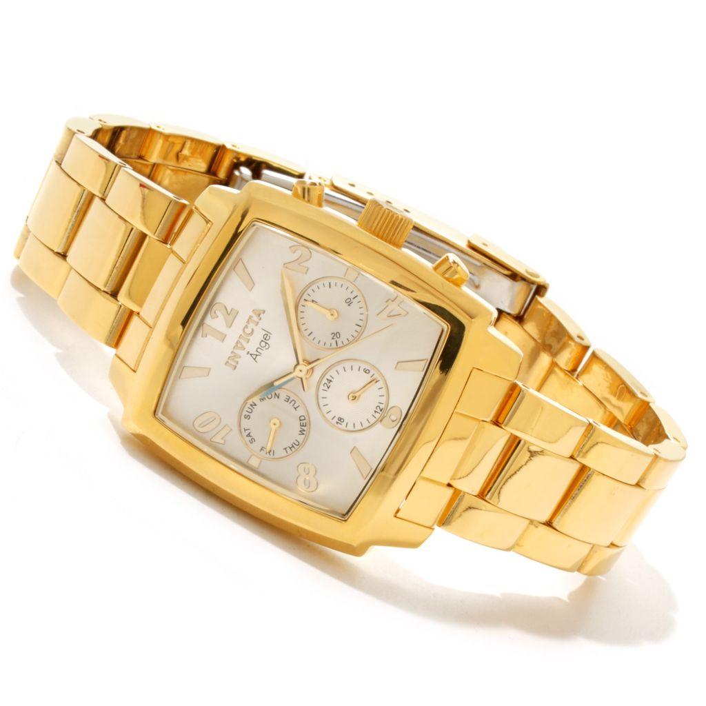 617-089 - Invicta Women's Angel Quartz GMT Rectangular Case Sunray Dial Stainless Steel Bracelet Watch