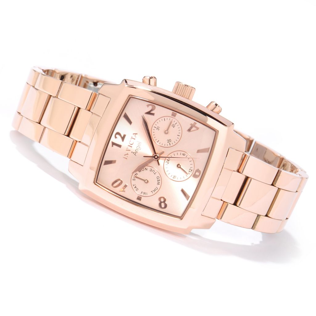 617-105 - Invicta Women's Angel Quartz GMT Rectangular Case Sunray Dial Stainless Steel Bracelet Watch
