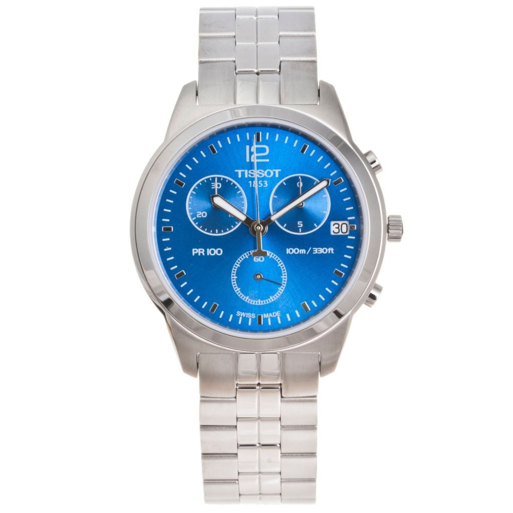 617-237 - Tissot 40mm PR100 Swiss Made Quartz Chronograph Stainless Steel Bracelet Watch