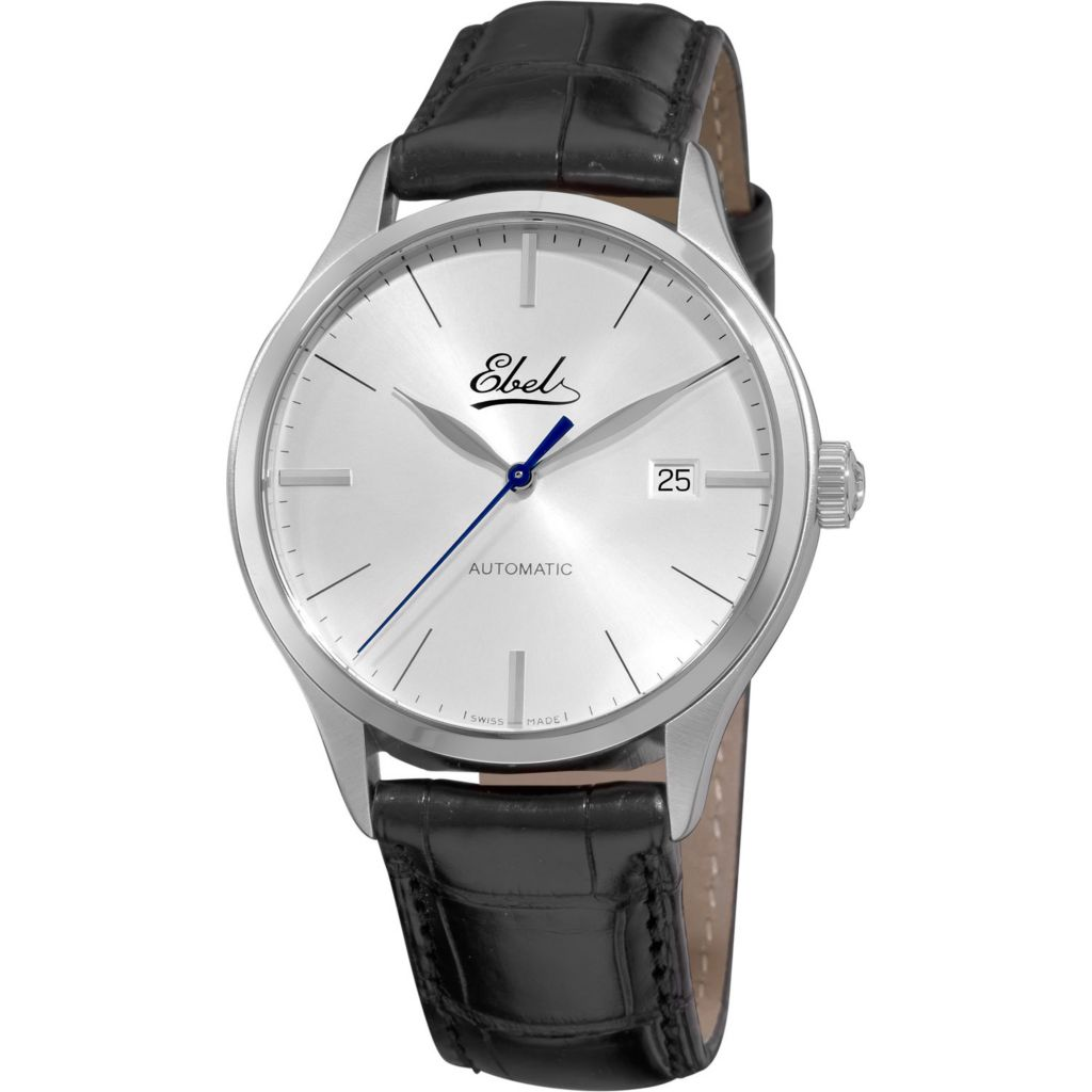 617-395 - Ebel Men's Classic 100 Swiss Made Automatic Black Leather Strap Watch