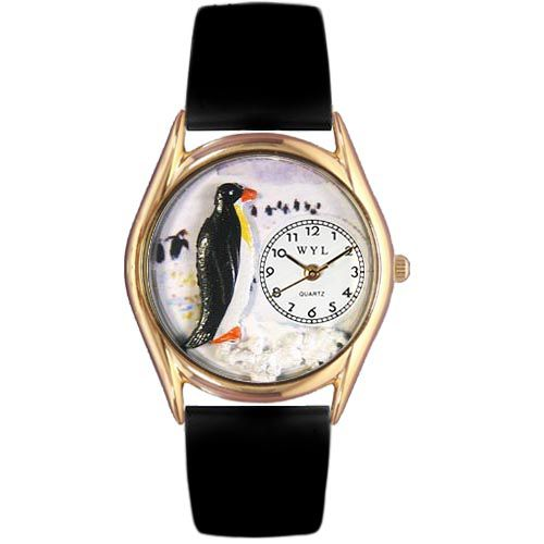 617-448 - Whimsical Watches Kid's Penquin Quartz Leather Strap Watch