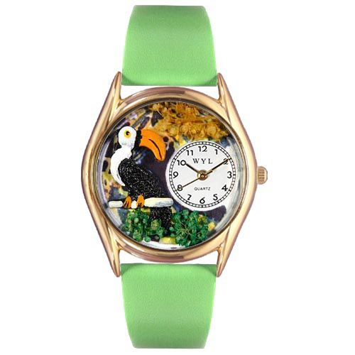 617-531 - Whimsical Watches Kids Japanese Quartz Toucan Green Leather Strap Watch