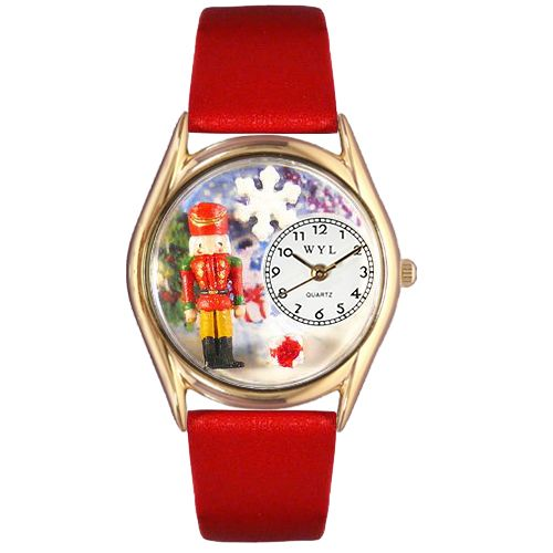 617-538 - Whimsical Watch Kid's Christmas Nutcracker Quartz Leather Strap Watch