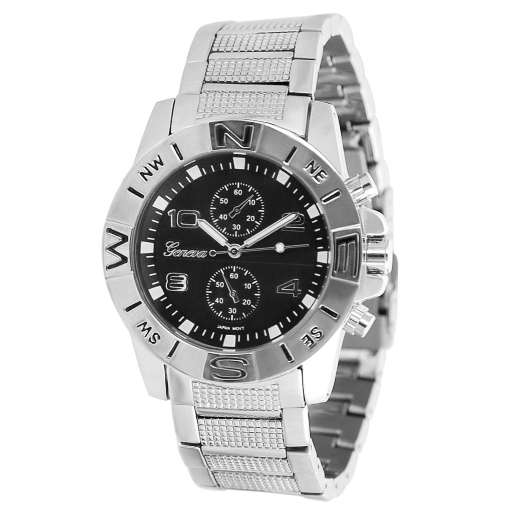 617-617 - Geneva Platinum 42mm Quartz Faux Chronograph Bracelet Watch