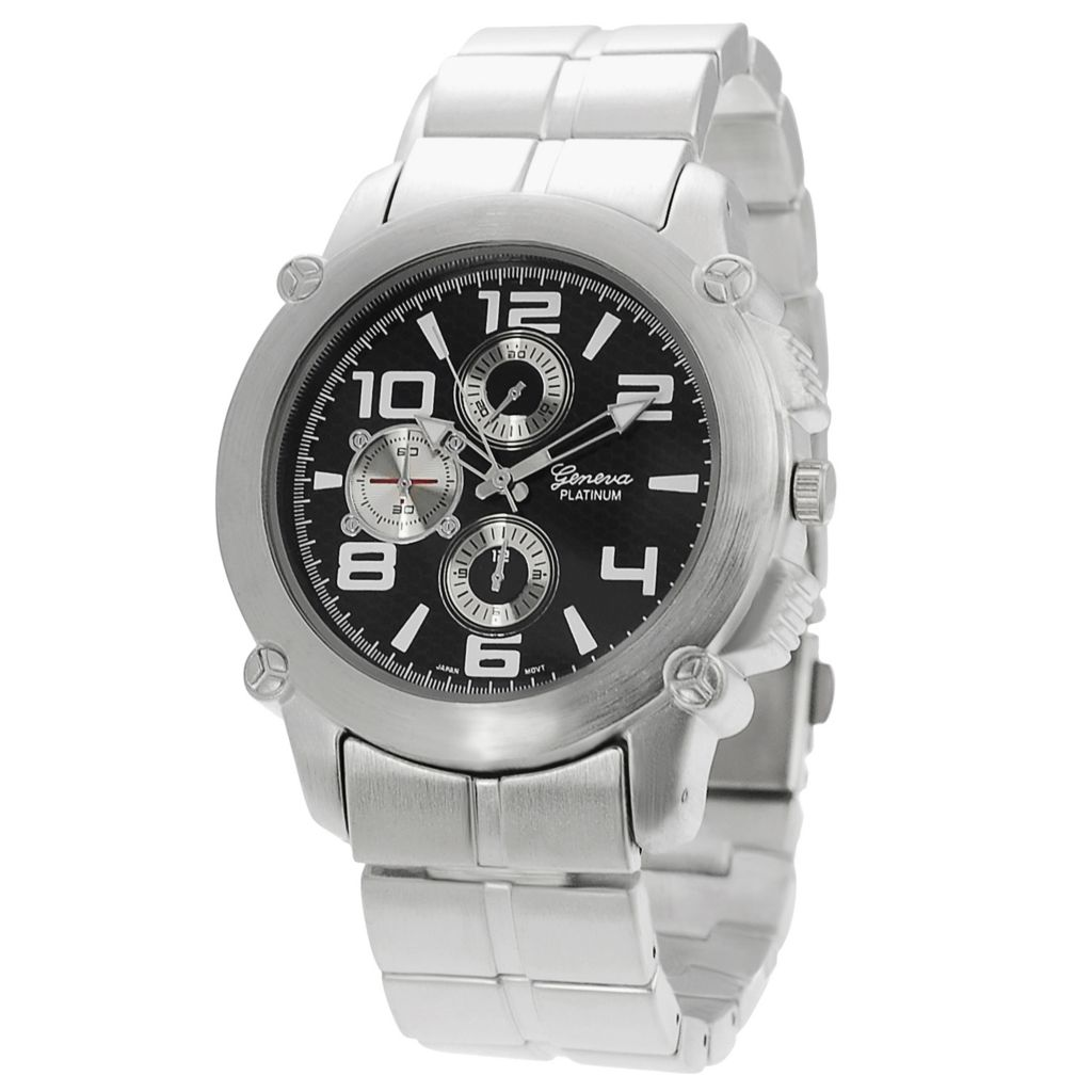 617-631 - Geneva Platinum Men's Quartz Faux Chronograph Brushed Finish Bracelet Watch