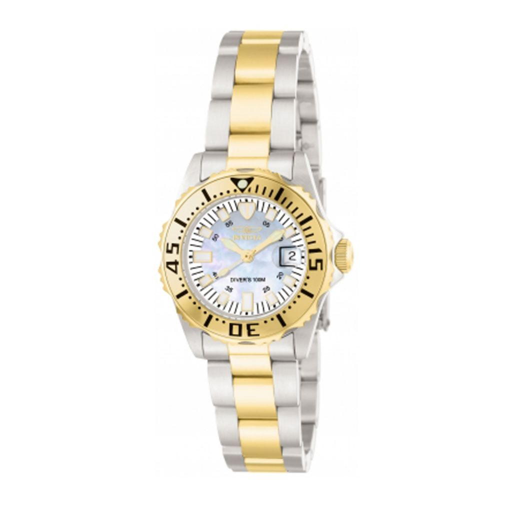 617-759 - Invicta Women's Pro Diver Quartz Mother-of-Pearl Stainless Steel Bracelet Watch