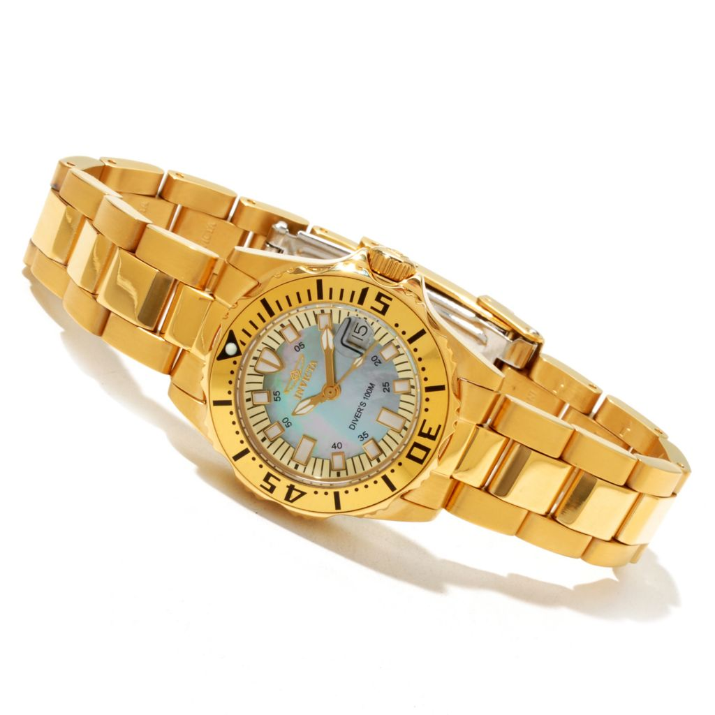 617-857 - Invicta Women's Pro Diver Abyss Quartz Mother-of-Pearl Dial Stainless Steel Bracelet Watch