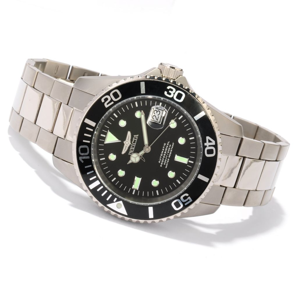 617-897 - Invicta 45mm Pro Diver Titanium Automatic Bracelet Watch w/ Three-Slot Dive Case