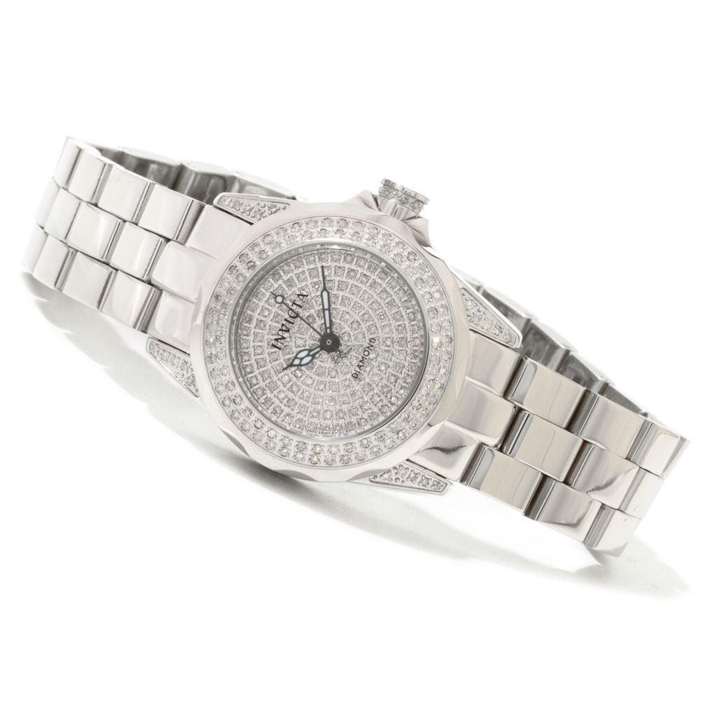 617-935 - Invicta Women's Pro Diver Quartz 0.95ctw Diamond Pave Dial Bracelet Watch w/ Three-Slot Watch Box