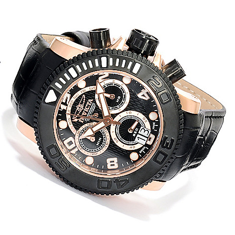 617-946 - Invicta 50mm Sea Hunter Swiss Made Quartz Chronograph Leather Strap Watch