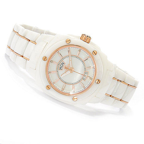 618-107 - Oniss Galaxy Quartz Mother-of-Pearl Ceramic Bracelet Watch