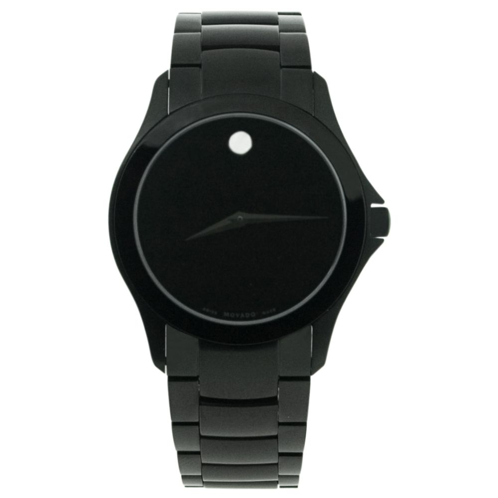 618-146 - Movado Men's Luno Swiss Quartz Black Dial Stainless Steel Bracelet Watch