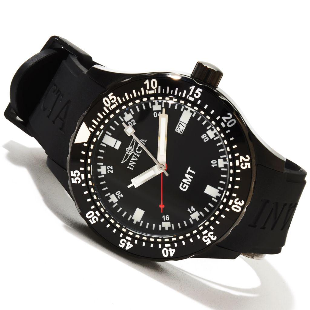 618-461 - Invicta 45mm Specialty Sport Quartz GMT Stainless Steel Case Polyurethane Strap Watch