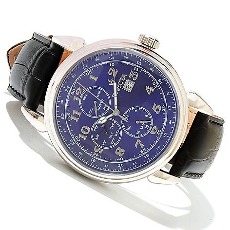 618-543 - Invicta 45mm Vintage Collection Quartz Master Calendar Stainless Steel Leather Strap Watch