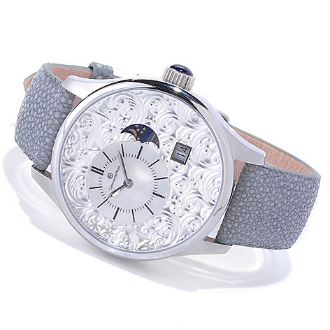 618-650 - Constantin Weisz Men's Automatic Mother-of-Pearl Dial Stingray Strap Watch