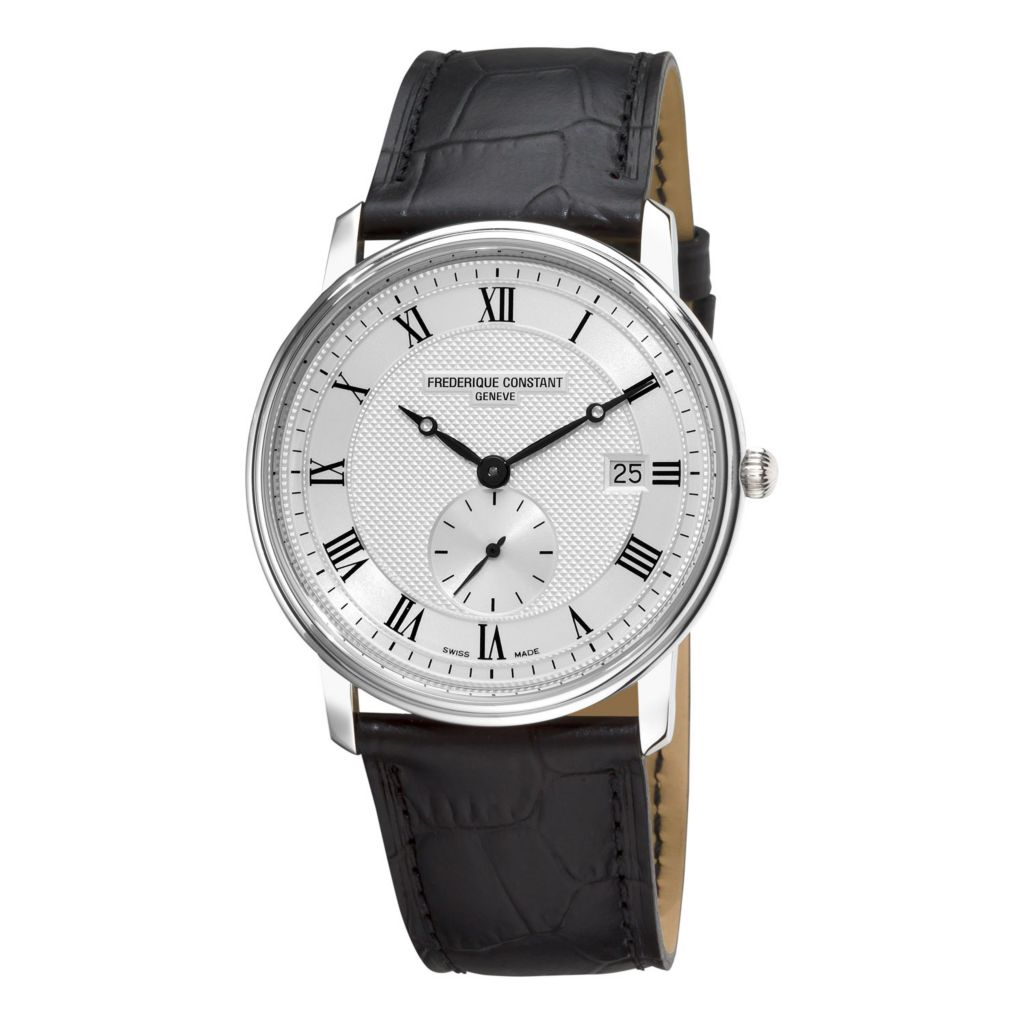 618-685 - Frederique Constant 39mm Slim Line Swiss Quartz Black Leather Strap Watch