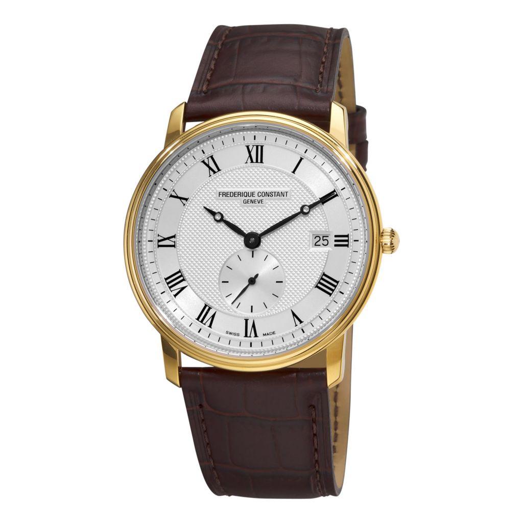 618-689 - Frederique Constant 39mm Slim Line Swiss Quartz Brown Leather Strap Watch