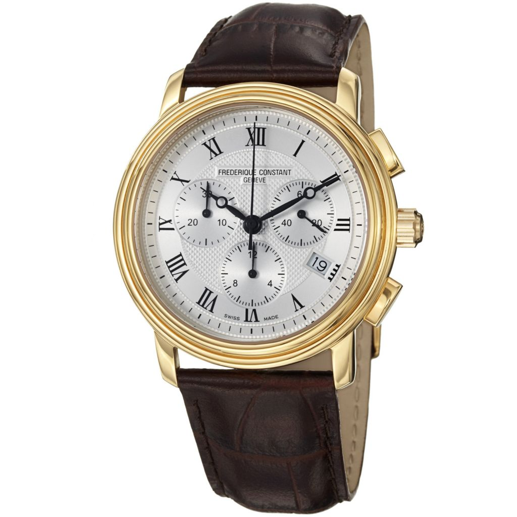 618-693 - Frederique Constant 40mm Persuasion Swiss Quartz Chronograph Brown Leather Strap Watch