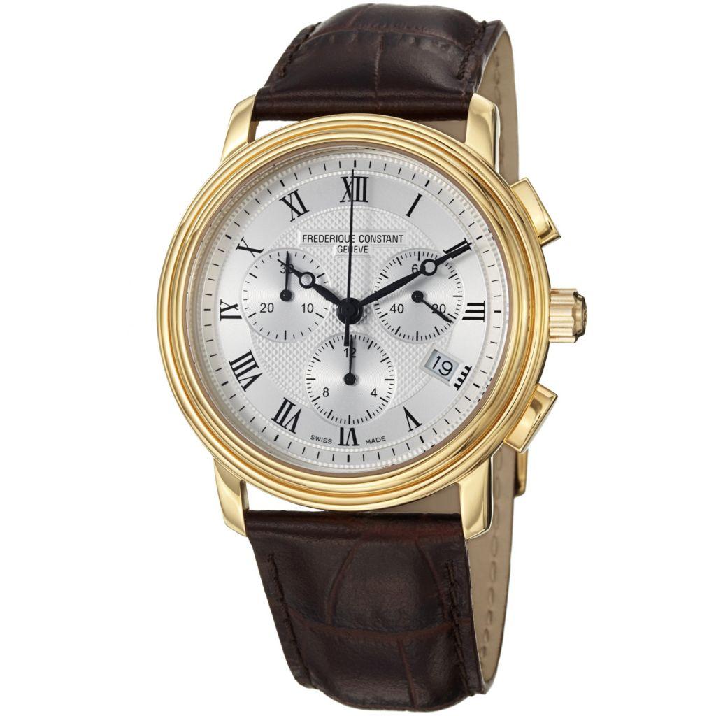 618-693 - Frederique Constant 40mm Persuasion Swiss Quartz Chronograph Brown Leather Strap Watch