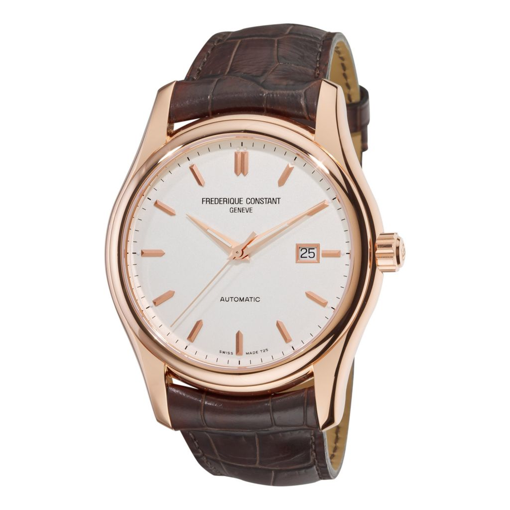 618-716 - Frederique Constant 43mm Index Swiss Made Automatic Brown Leather Strap Watch