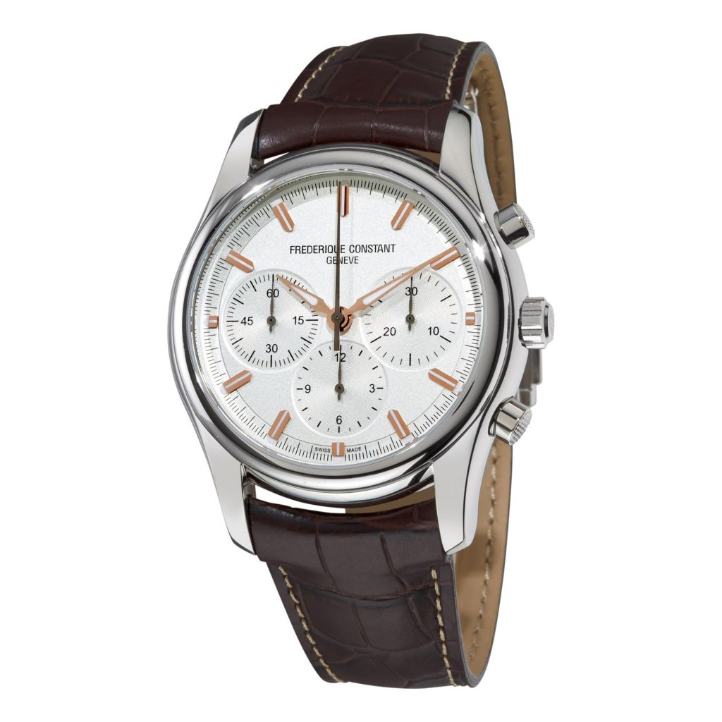 618-740 - Frederique Constant 43mm Peking Swiss Made Automatic Chronograph Leather Strap Watch