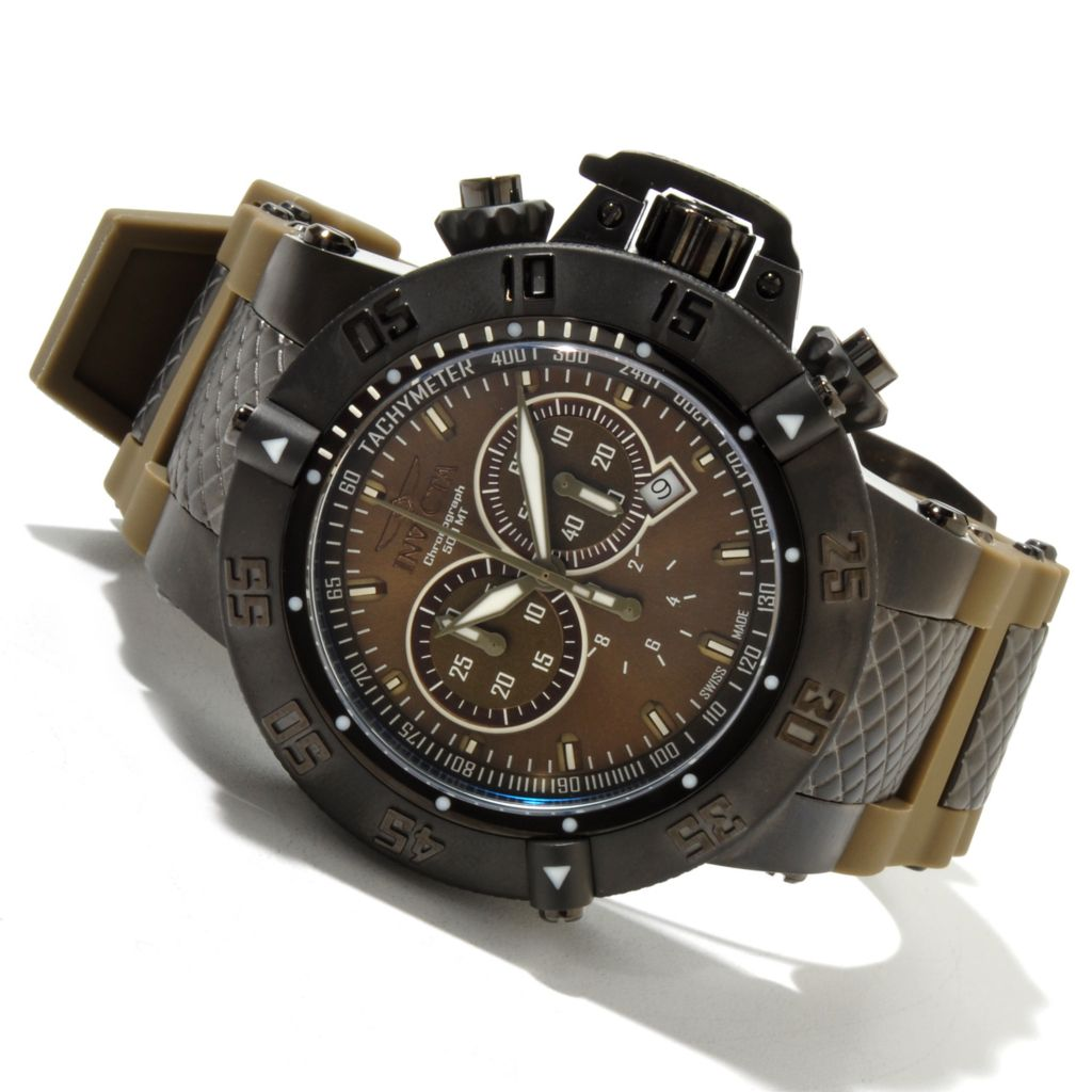 618-819 - Invicta Men's Subaqua Noma III Swiss Quartz Chronograph Stainless Steel Case Silicone Strap Watch