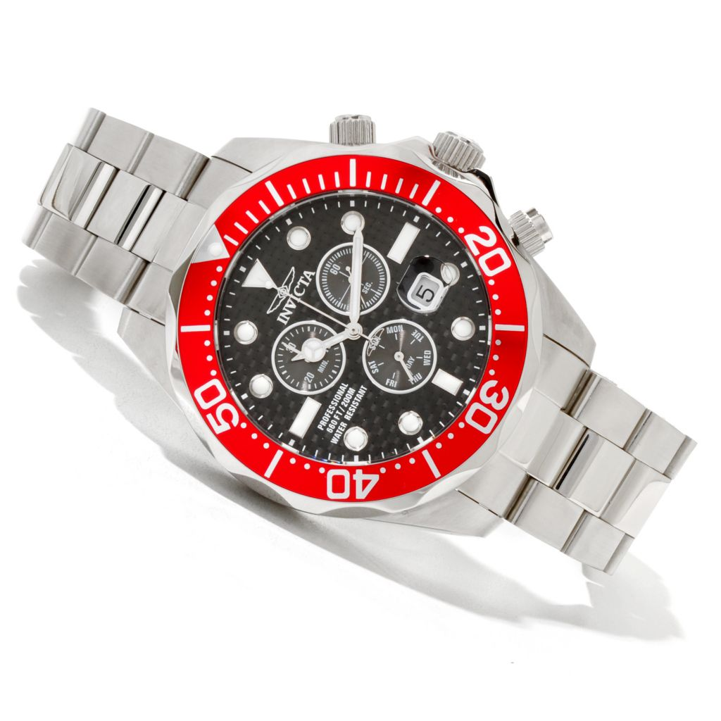 618-879 - Invicta Men's Grand Diver Quartz Chronograph Stainless Steel Bracelet Watch w/ 8-Slot Dive Case