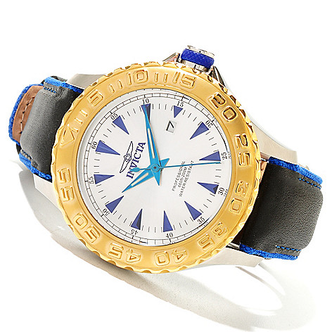 618-882 - Invicta 47mm Pro Diver Ocean Ghost Quartz Stainless Steel Leather Strap Watch