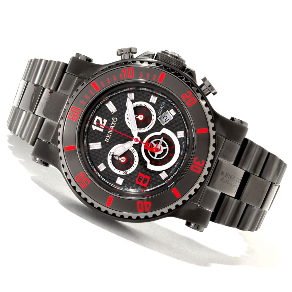 618-886 - Renato 50mm T-Rex Diver Limited Edition Swiss Quartz Stainless Steel Bracelet Watch