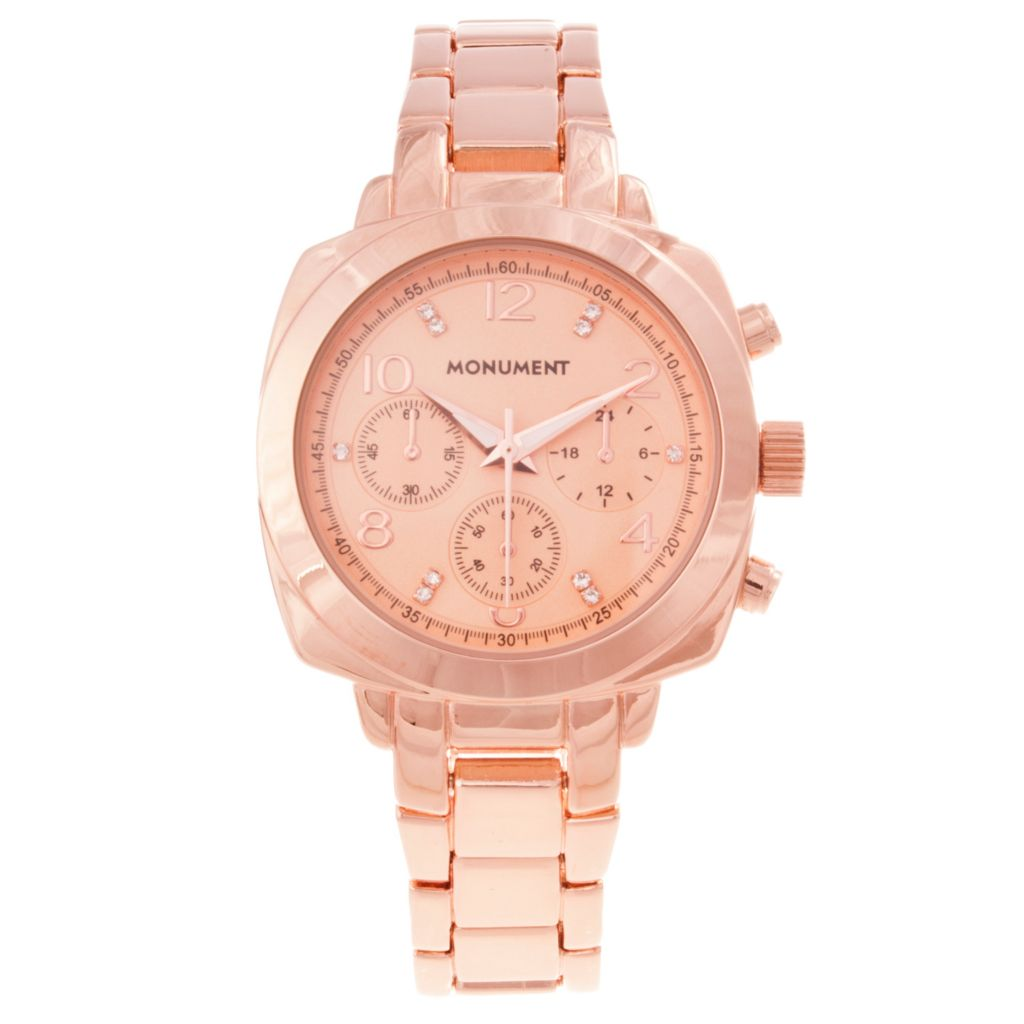 618-907 - Monument Women's Crystal Detail Rose-tone Bracelet Watch