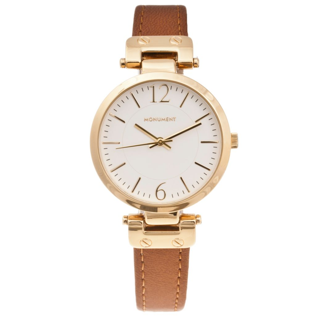 619-026 - Monument Women's Quartz Faux Leather Strap Watch