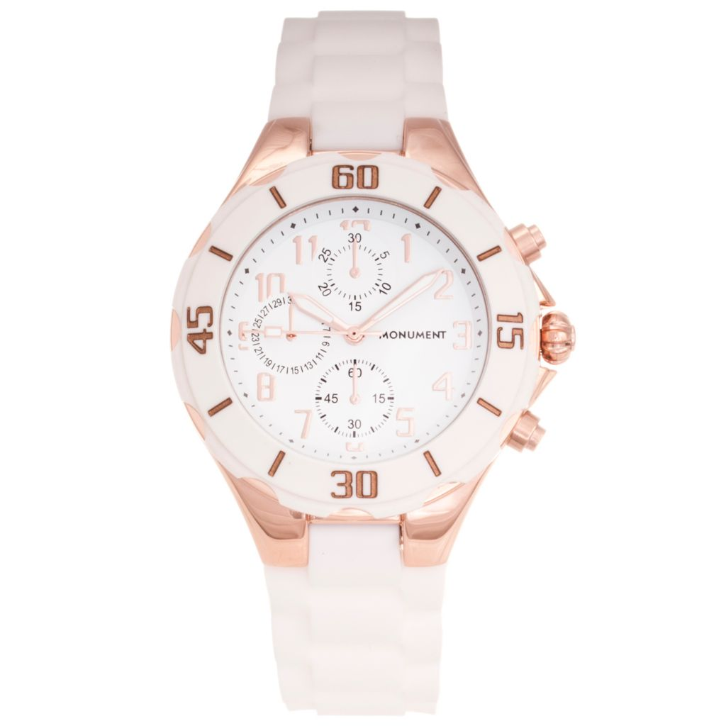619-060 - Monument Women's Sporty Quartz Rubber Strap Watch