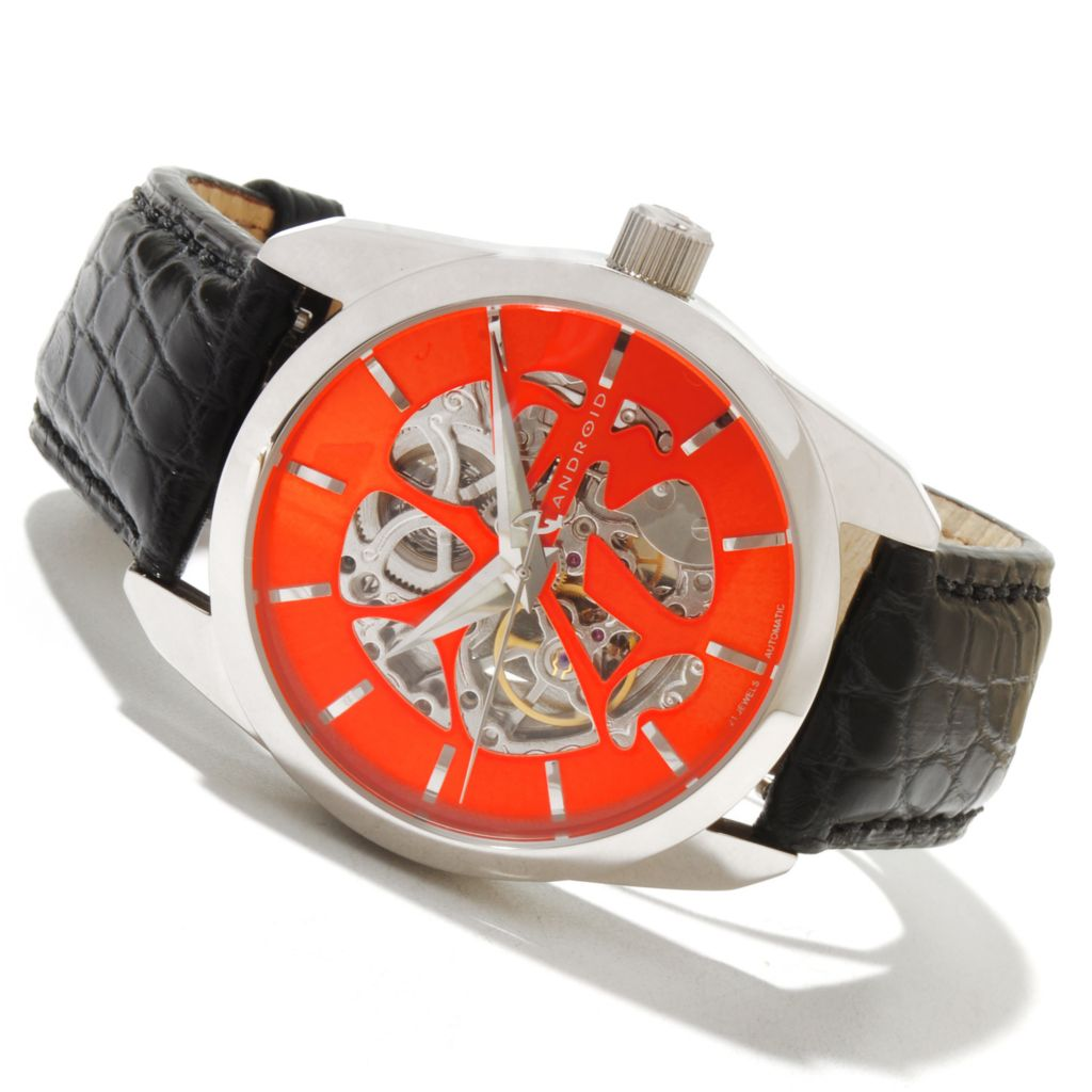 619-355 - Android 41mm Impetus Automatic Skeletonized Dial Alligator Strap Watch