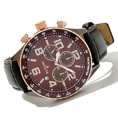 619-372 - Invicta 46mm Ceramic I Force Quartz Chronograph Leather Strap Watch
