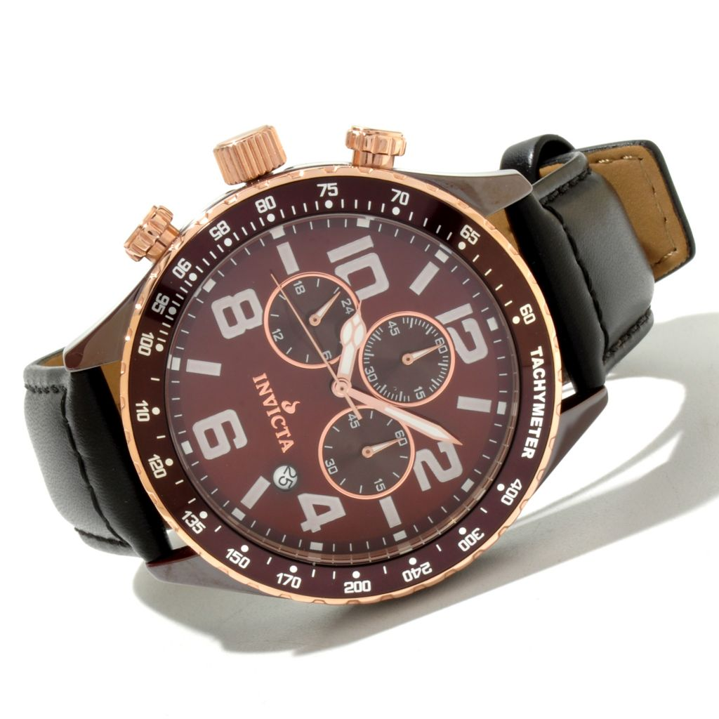 619-372 - Invicta 46mm Ceramic I Force Quartz Chronograph Leather Strap Watch