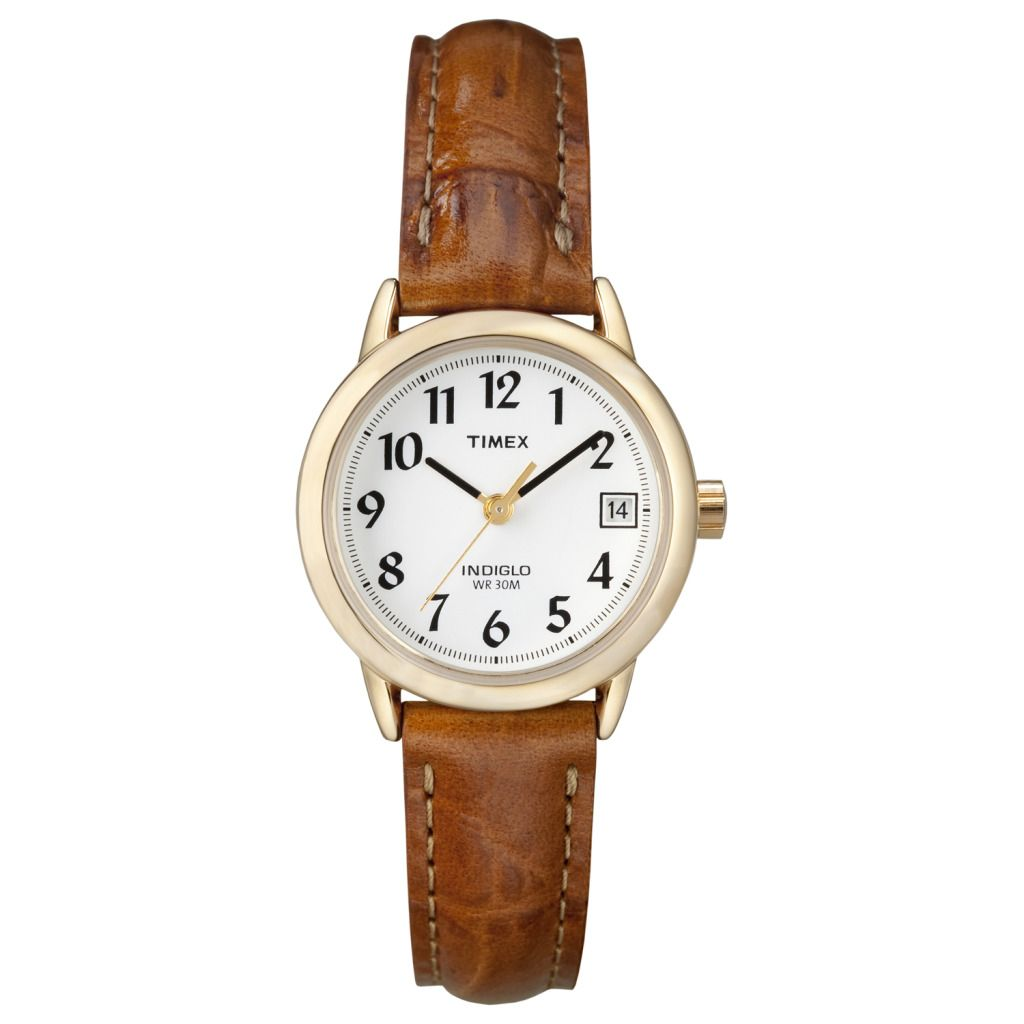 619-389 - Timex® Women's Quartz Gold-tone Brown Leather Strap Watch