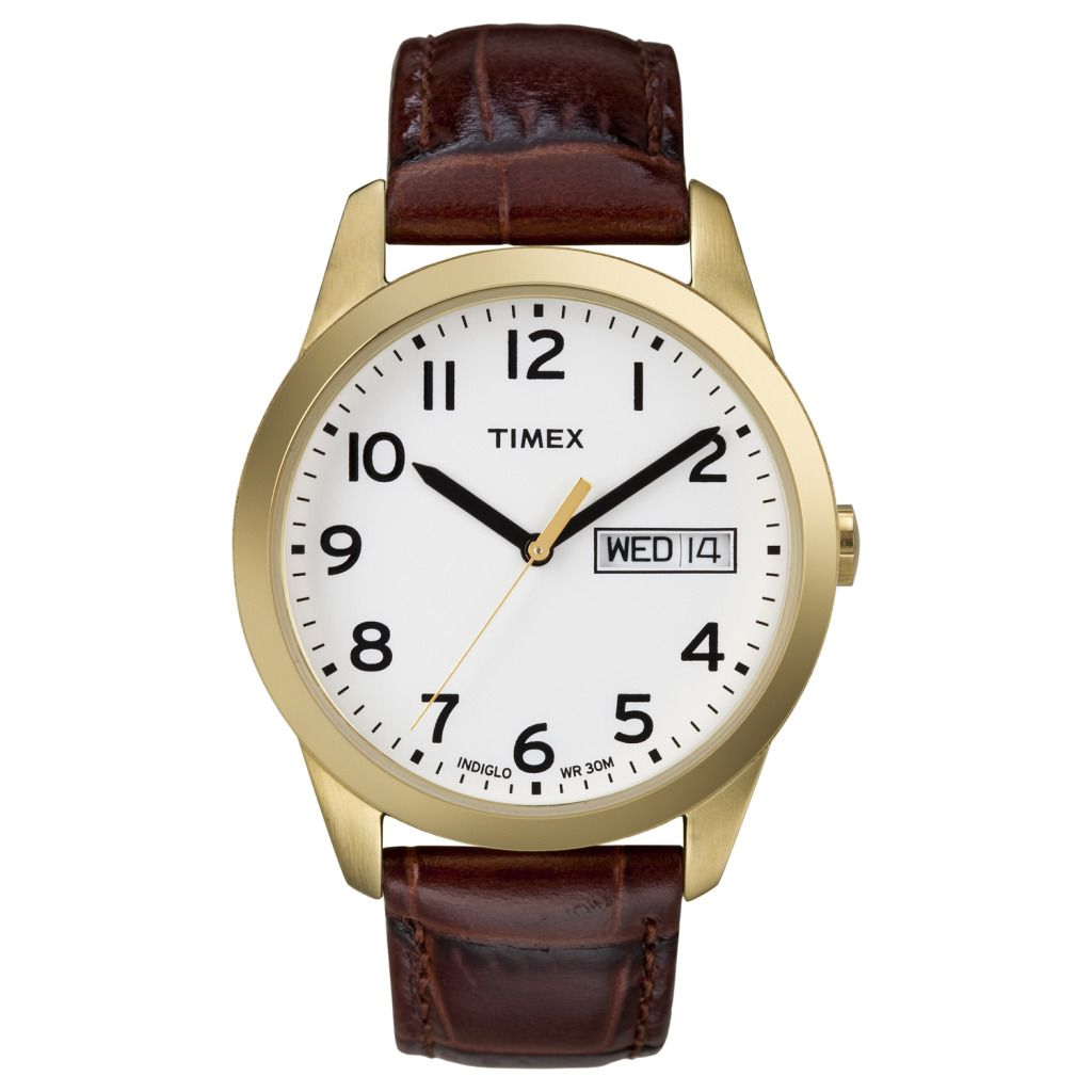 619-392 - Timex® Men's Dressy Quartz Gold-tone Brown Leather Strap Watch