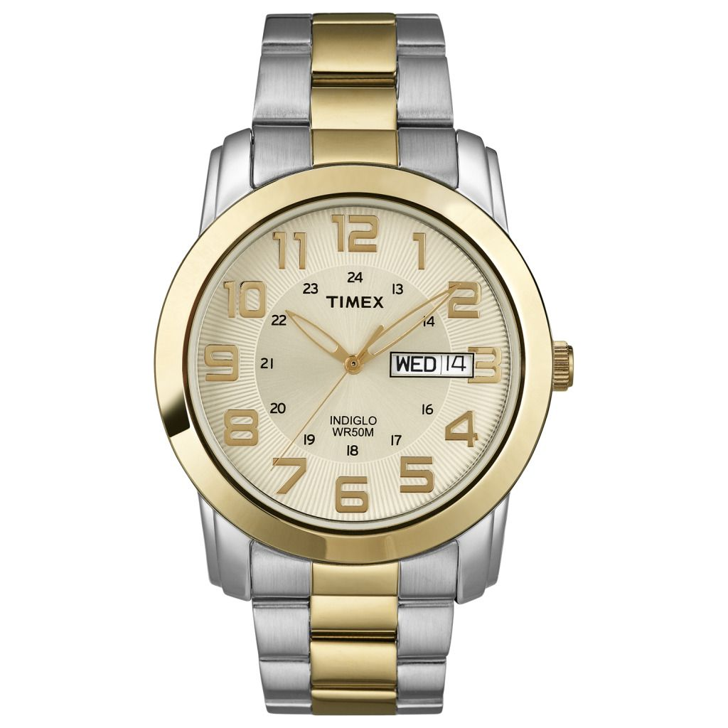 619-396 - Timex® Men's Quartz Two-tone Indiglo Light Bracelet Watch
