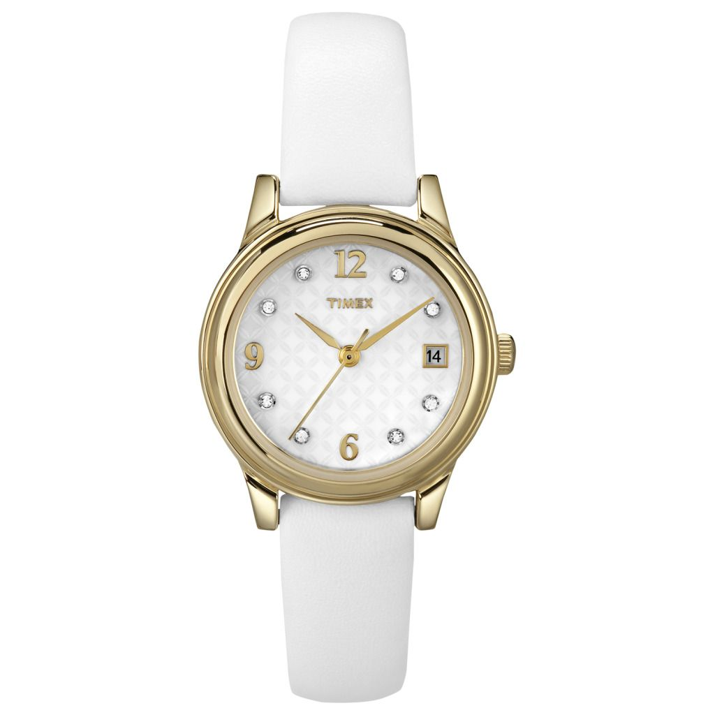 619-397 - Timex® Women's Crystal Marker Quartz White Leather Strap Watch