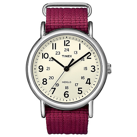 619-400 - Timex® Women's Weekender Silver-tone Slip Through Fuchsia Strap Watch